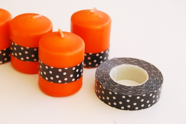 DIY Halloween Candle, Washi Tape Candle, Halloween Decor, The Proper Pinwheel Tutorial