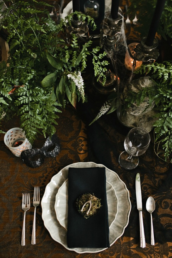 Halloween Tablescape, Macabre, Black, Decadent