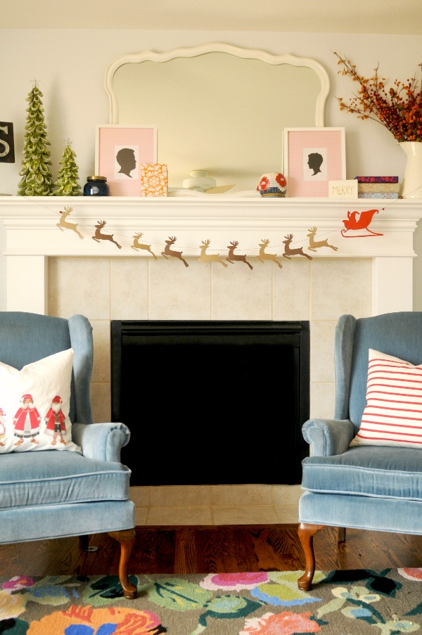 DIY Santa & Reindeer Garland, The Proper Pinwheel, Mission: Merry 2012, Holiday DIY, Mantle Decorations
