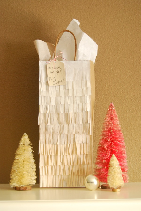 Giftwrap, Ombre, Tissue Fringe, Pinata, The Proper Pinwheel, DIY, Christmas DIY, Wrapping, Mission Merry 2012, Birch Trees