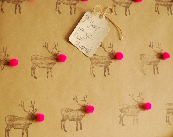 Giftwrap, Ombre, Tissue Fringe, Pinata, The Proper Pinwheel, DIY, Christmas DIY, Wrapping, Mission Merry 2012, Birch Trees, Pom Wrapping Paper, Reindeer Wrapping Paper