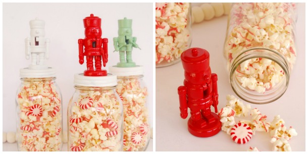 Mission Merry 2012, Nutcracker, Holiday DIY, Neighbor Gifts, Popcorn in Jar, Jar Toppers, Nutcracker Jar Toppers, Christmas Crafts, The Proper Pinwheel, Red, Mint, White