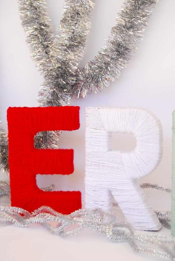 DIY Yarn-wrapped letters, Mission: Merry, The Proper Pinwheel, Mantle Decor, Holiday Decor,Yarn Crafts, Christmas projects