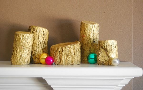 The Proper Pinwheel, Anthropologie, Golden Log Candles, Golden Logs, Anthro-inspired DIY, DIY Anthro, Mission Merry 2012, Holiday Crafts, Mantle Decor