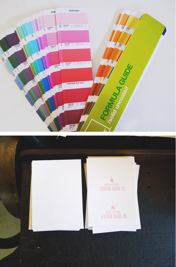 Business Cards for Alt Summit, Letterpress cards, The Proper PInwheel, Bears Eat Berries Press
