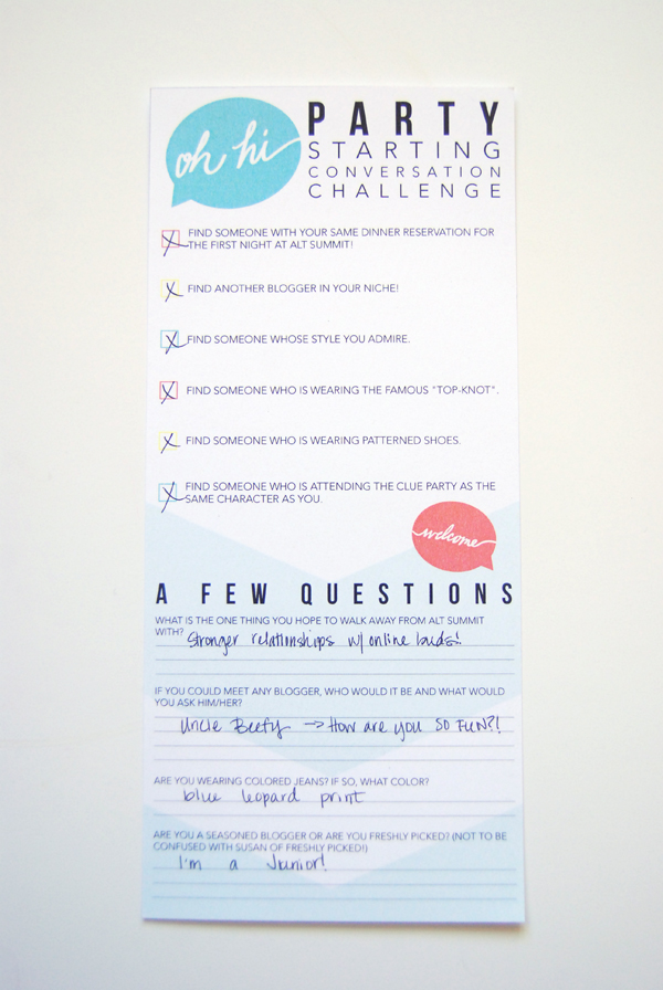 Questionnaire for The Hello Social designed by Kristie Garner