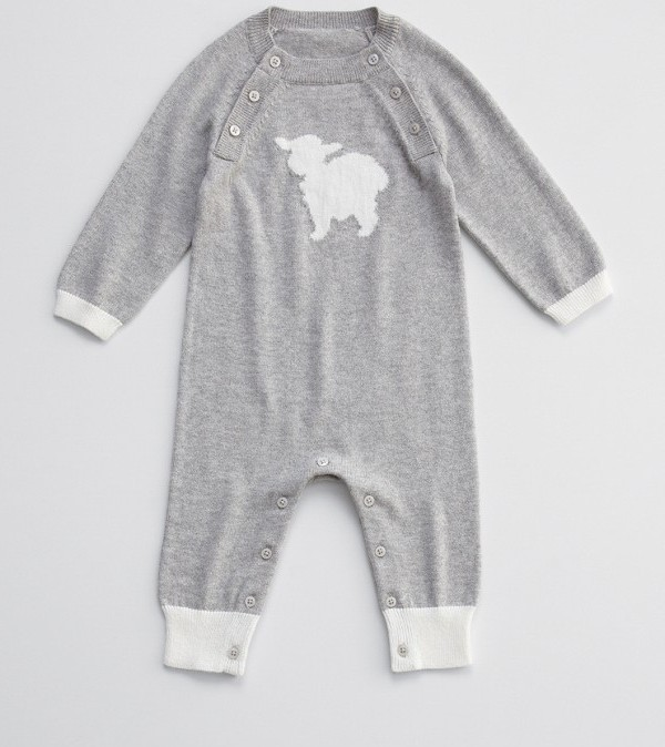 charcoal lamb cashmere baby long johns by Red Envelope
