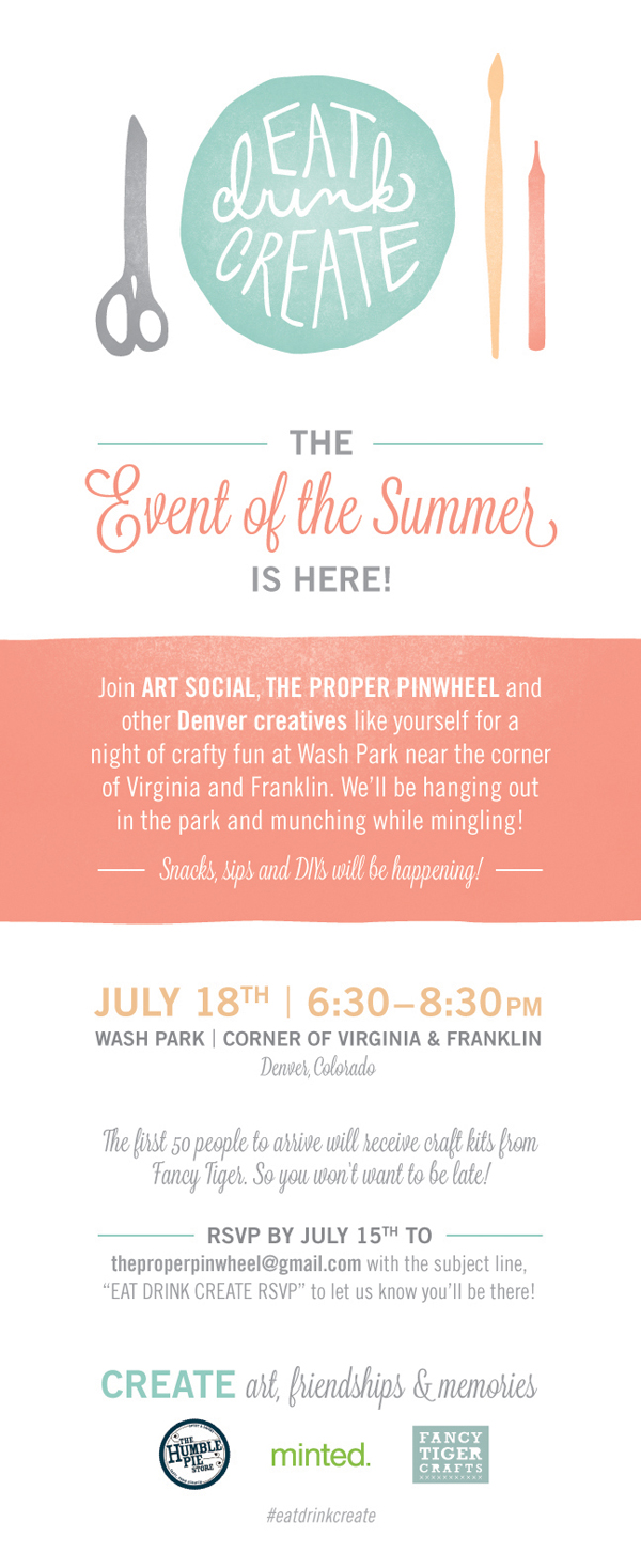 EAT DRINK CREATE - An Event Series By The Proper Pinwheel & Art Social