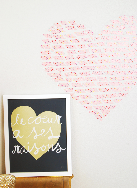 DIY Washi Tape Heart Installation