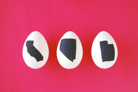 DIY State Silhouette Easter Eggs