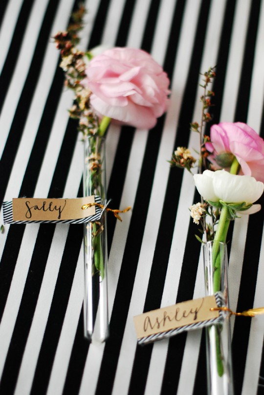 DIY Floral Glass Vial Place Cards