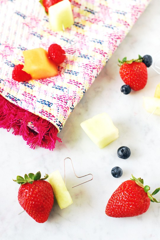 DIY Paper Clip Fruit Skewers