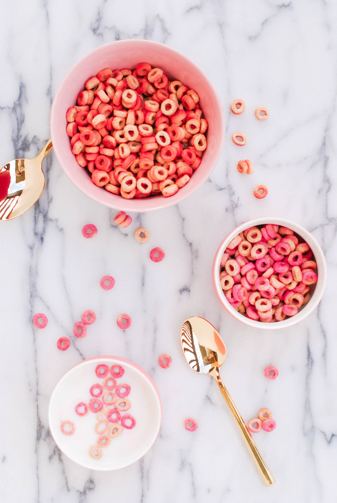 DIY Pink & Red Tinted Cheerios