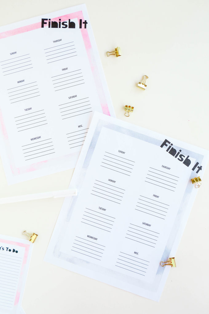#ProperPrintables \\ Watercolor To Do List