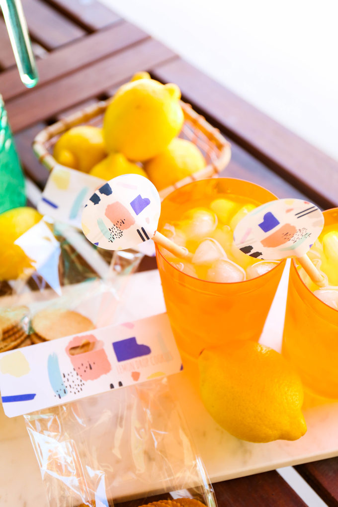#ProperPrintables \\ Printable Abstract Lemonade Drink Stirrers & Cookie Bags