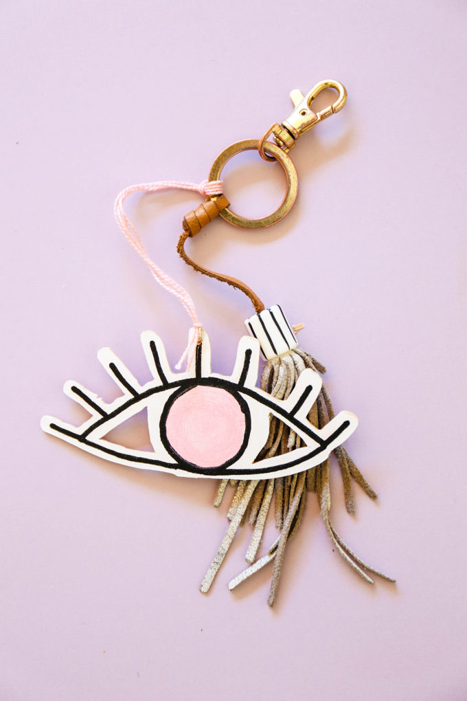 diy wooden eye-shaped valentines turned into a keychain
