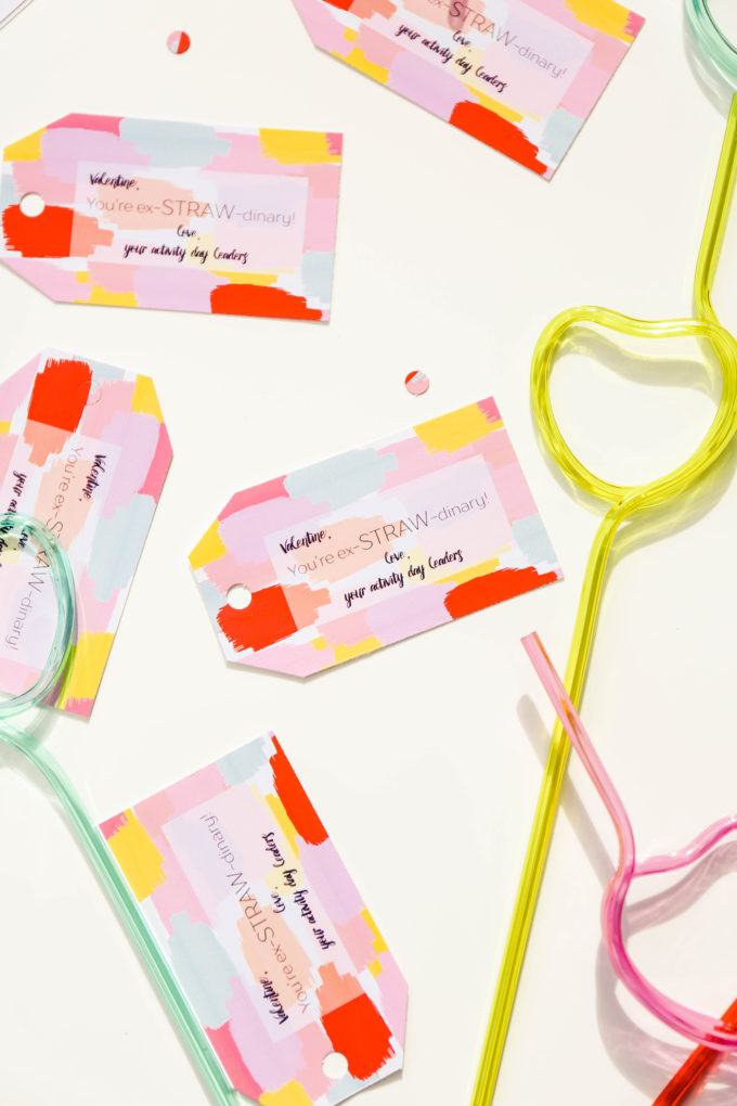 painterly printable valentines with crazy straws