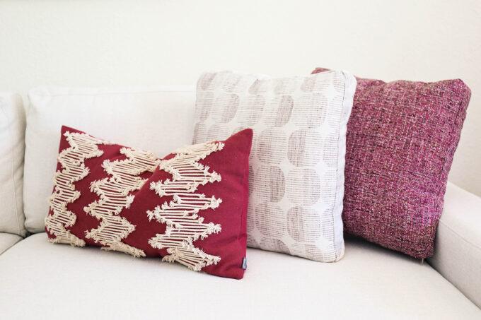 close up of sofa pillow texture