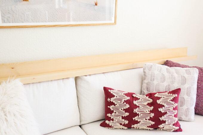 modern sofa with art ledge