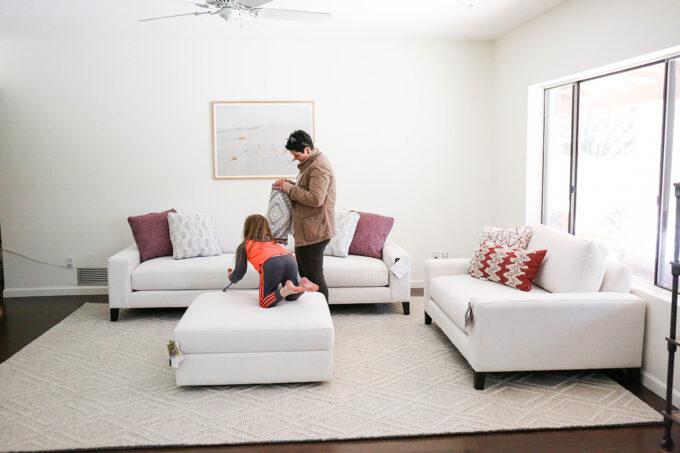 setting up modern living room