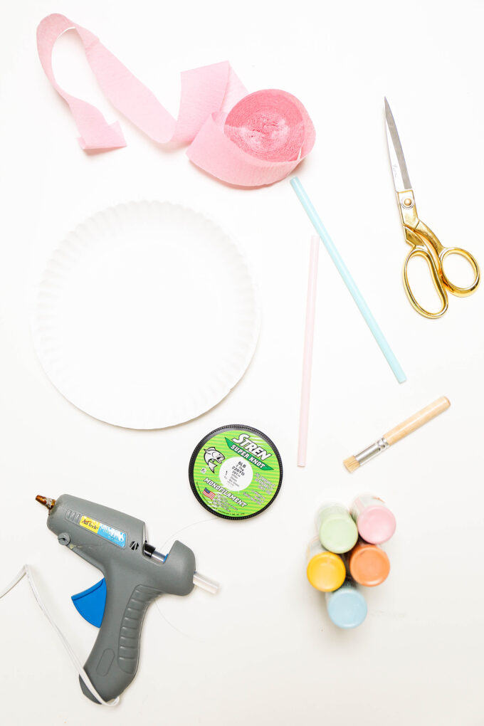 supplies for paper plate rainbow string puppet