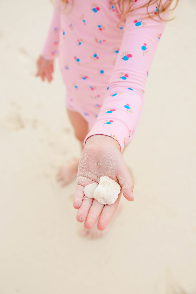 little girl holding seashell in hand