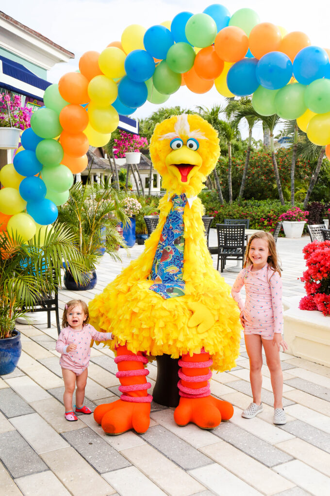 little girls with Big Bird from Sesame Street
