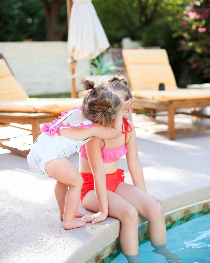 little girls in swimsuit