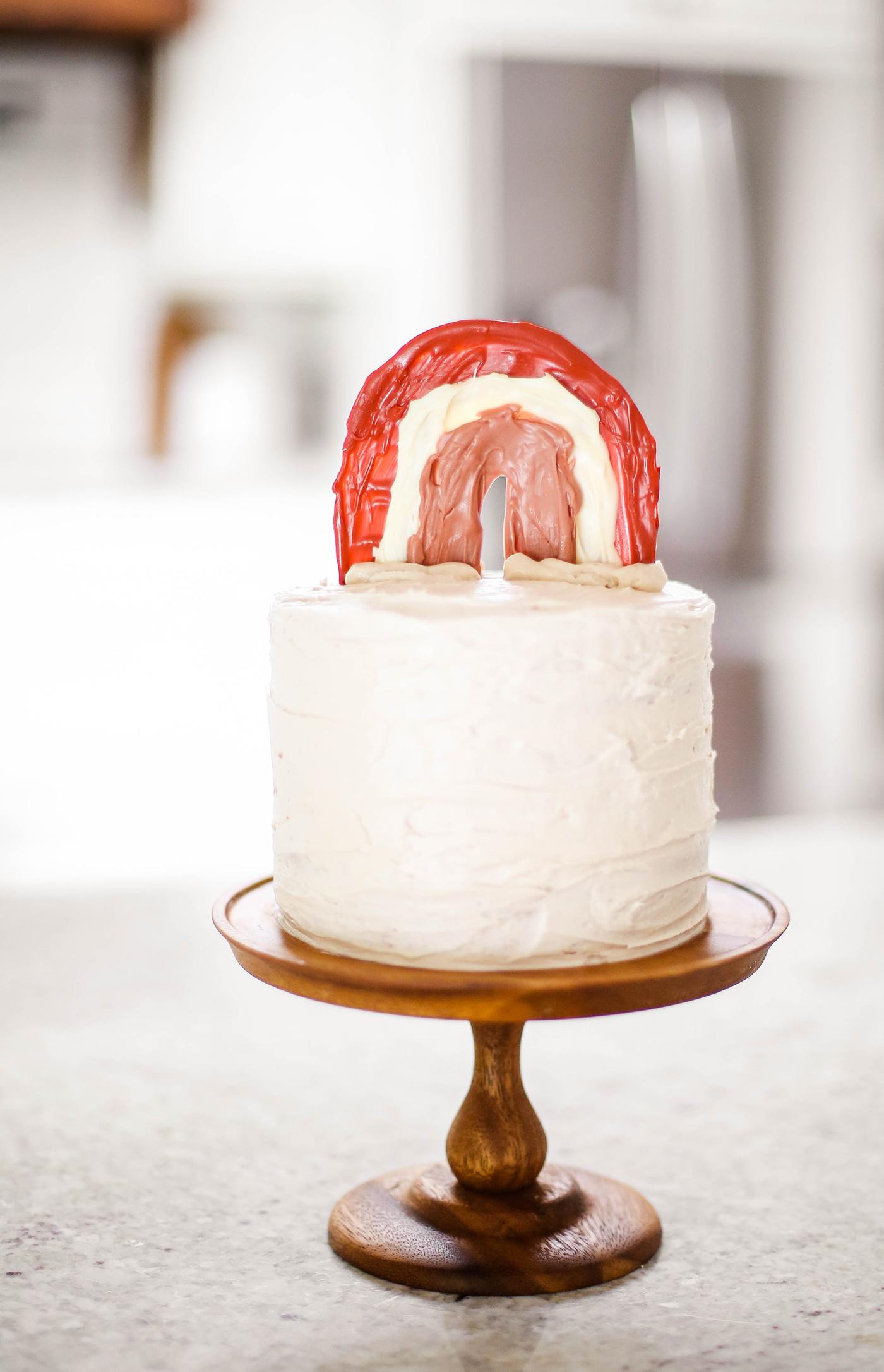 DIY chocolate rainbow cake topper on cake