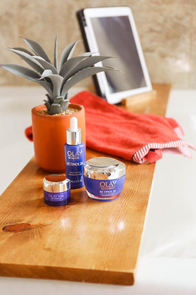 Olay Retinol24 on bath tray