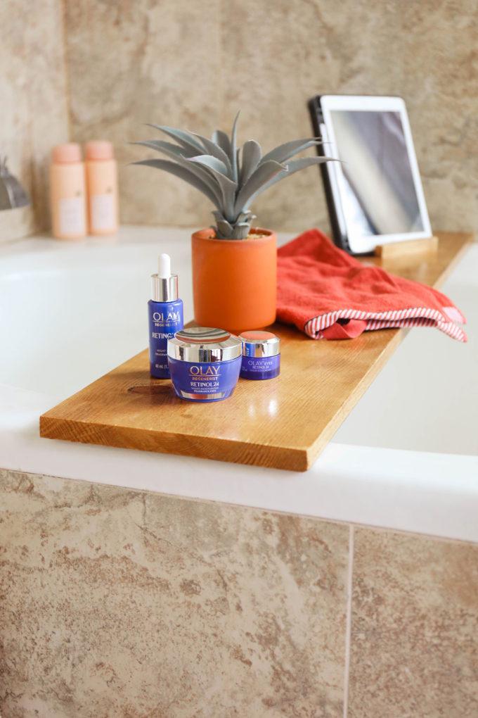 Olay Retinol24 on wooden bath tray