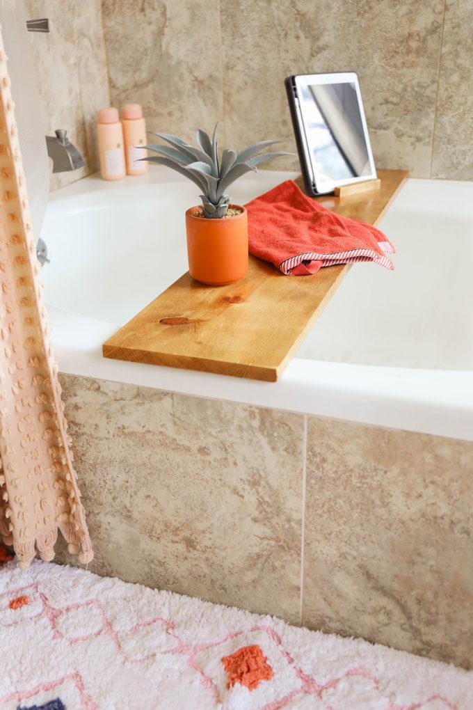 DIY wooden bath tray